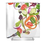 Flying Salad Shower Curtain