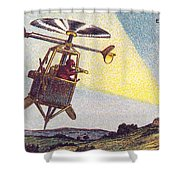 Flying Sentinel, 1900s French Postcard Shower Curtain