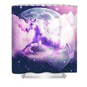 Flying Space Galaxy Unicorn Shower Curtain