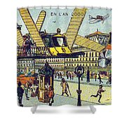 Flying Taxicabs, 1900s French Postcard Shower Curtain