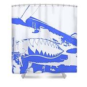 Flying Tiger Blue Shower Curtain