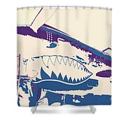 Flying Tiger Blue Purple  Shower Curtain