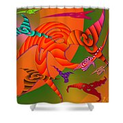 Flying Triangles Shower Curtain