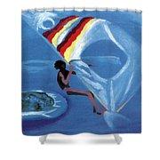 Flying Windsurfer Shower Curtain