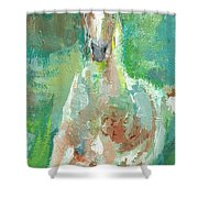 Foal  With Shades Of Green Shower Curtain