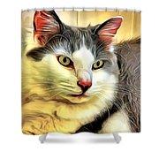 Focused Feline Shower Curtain