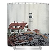 Fog Approaching Portland Head Light Shower Curtain