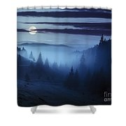 Fog Around The Mountain Top At Night Shower Curtain