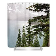 Fog Going Down At Lake Moraine Shower Curtain