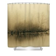 Fog Hovers Above The James River Shower Curtain