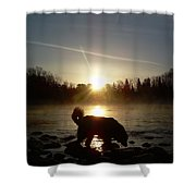 Fog Over Mississippi River Shower Curtain