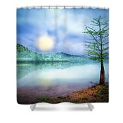 Fog Over The Lake Shower Curtain