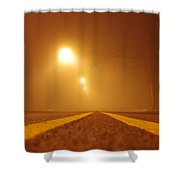 Fog Shrouded Road Shower Curtain