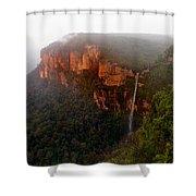 Fog Sunrise And Waterfalls Shower Curtain