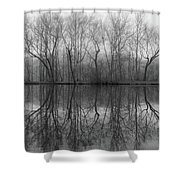Foggy Lagoon Reflection #3 Shower Curtain