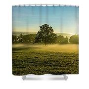 Foggy Autumn Morning On The Farm Shower Curtain