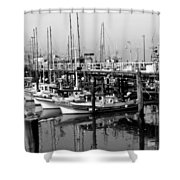 Foggy Boats Shower Curtain