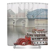 Foggy Chattanooga Shower Curtain by Tom and Pat Cory