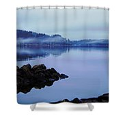 Foggy Dawn Blue And Pink Shower Curtain