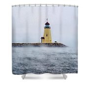 Foggy Day At The Lighthouse Shower Curtain