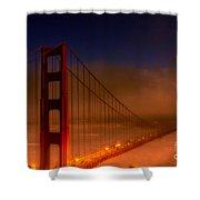 Foggy Golden Gate At Sunset Shower Curtain