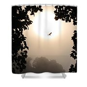 Foggy Heron Flight Shower Curtain