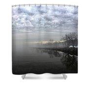 Foggy Hudson River Shore Shower Curtain