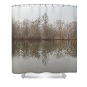 Foggy Lagoon Reflection #5 Shower Curtain