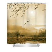 Foggy Lake And Three Couple Of Birds Shower Curtain