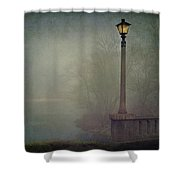 Foggy Lampost Shower Curtain