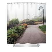 Foggy Langmoor Gardens - Lyme Regis Shower Curtain