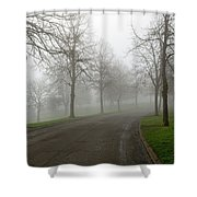 Foggy Morning At The Park Winding Path Shower Curtain