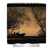 Foggy Morning Fishing Boat Shower Curtain