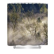 Foggy Morning In Sandy River Valley Shower Curtain