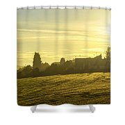 Foggy Morning Over Kennet Village Shower Curtain