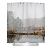 Foggy Morning View Of The Bridge Shower Curtain