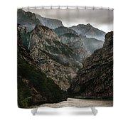 Foggy Mountains Over Neretva Gorge Shower Curtain