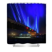 Foggy Night At The Indian River Bridge Shower Curtain