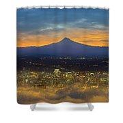 Foggy Portland City Downtown At Dawn Shower Curtain