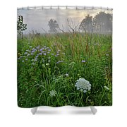 Foggy Prairie In Glacial Park In Mchenry County Shower Curtain