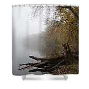 Foggy River Bank Shower Curtain