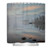 Foggy Sunrise At Great Pond 2 Shower Curtain