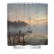 Foggy Sunrise At Great Pond 3 Shower Curtain