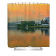 Foggy Sunrise At The Tidal Basin Shower Curtain