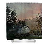 Foggy Sunrise In The Mountains Shower Curtain