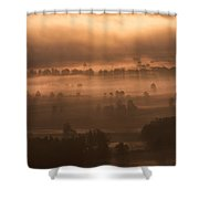 Slovenia - Ljubljana Marshes - Foggy Morning Shower Curtain