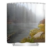 Foggy Truckee River Shower Curtain