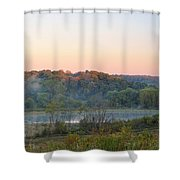 Foggy Valley Panorama Shower Curtain