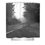 foggy way  BW Shower Curtain