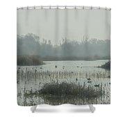 Foggy Wetlands Shower Curtain